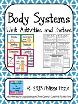 Human Body - Body Systems - Unit Posters and Activities - Common Core and So Much More - TeachersPayTeachers.com