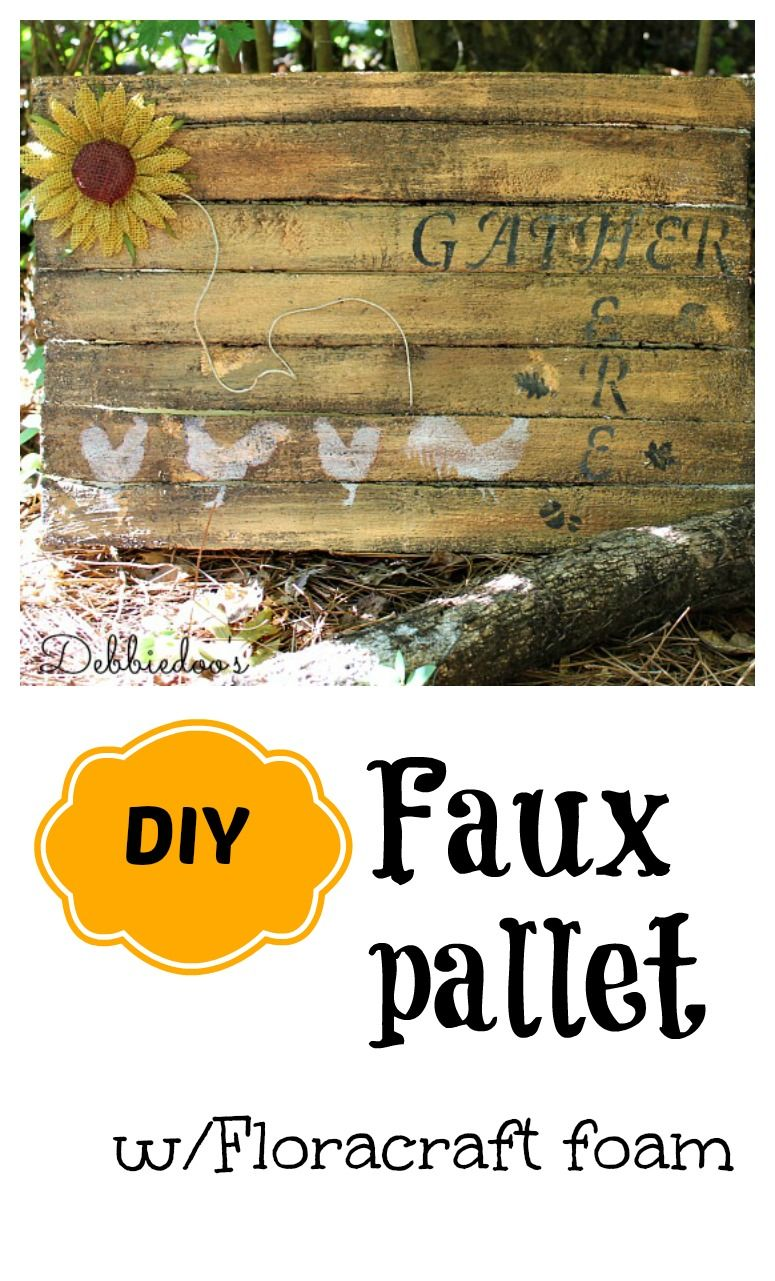 DIY faux pallet with floracraft foam.  Step by step how to.