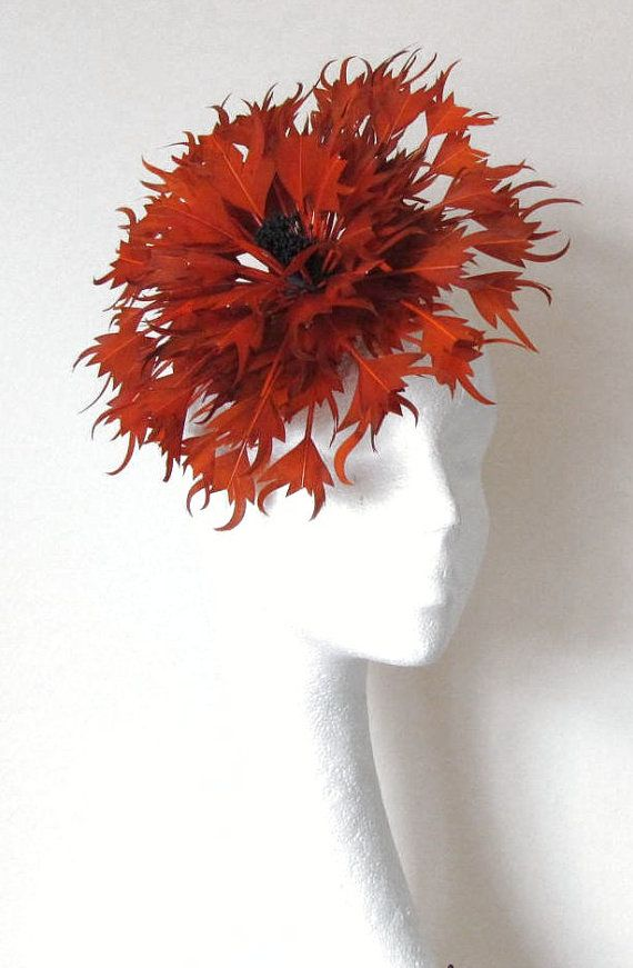 Burnt Orange Fascinator Hat for Weddings Races by Hatsbycressida...