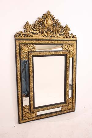 """Dutch brass embossed and ebonised mirror circa 1860 on sale. Originally prices at 5,800.00, we have lowered our retail price down to 3,900.00. This mirror is in great condition. Measurements are 31"""" wide and 51"""" tall."""