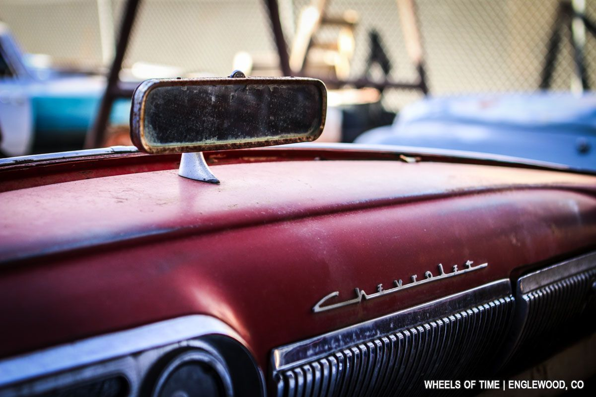 1954 Chevrolet Bel Air dashboard with dash-mounted rearview mirror ...