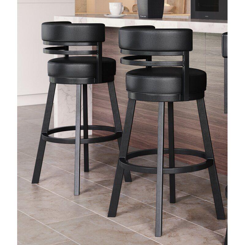 Chamisa Swivel Bar Counter Stool In 2021 Black Bar Stools Kitchen Swivel Bar Stools Kitchen Comfortable Bar Stools