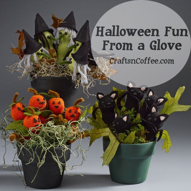 Halloween witches, pumpkins and black cats made from gloves - cute halloween diy decorations