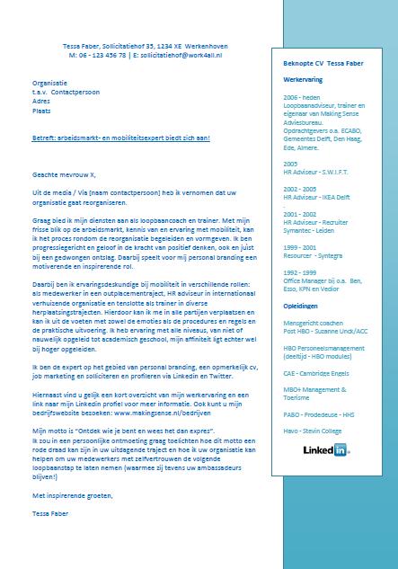 vormgeving sollicitatiebrief Voorbeeld van een cv en motivatiebrief op 1 A4 voor een semi open  vormgeving sollicitatiebrief