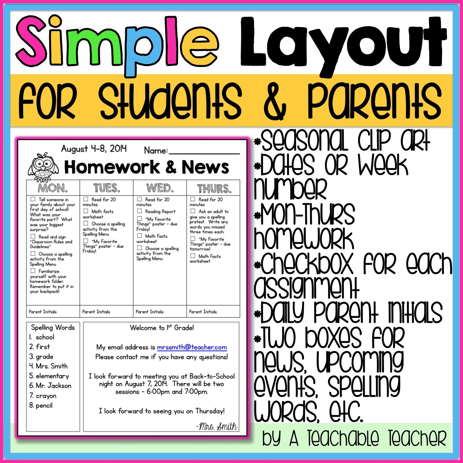 Newsletter Template  Homework Template And School
