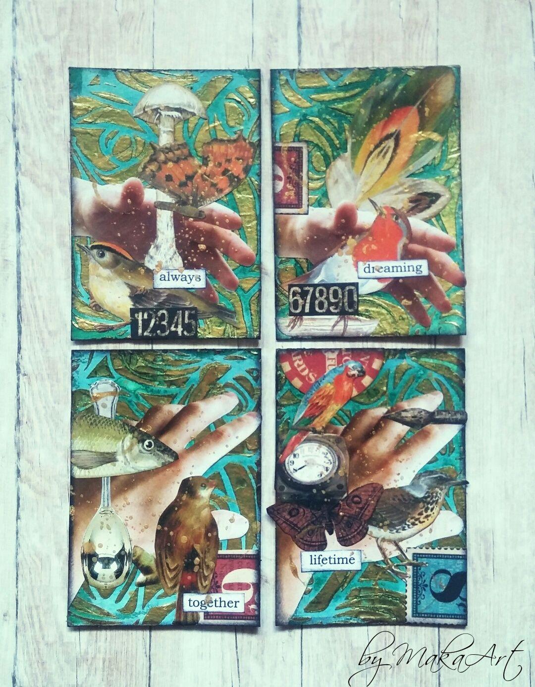 """ATC Set """"Evergreen"""" Môjaktuálny príspevok na ScrapArt.cz   prináša inšpiráciu v podobedvoch ATC setov na jesennú tematiku v hrejivej palete farieb...   Spo..."""