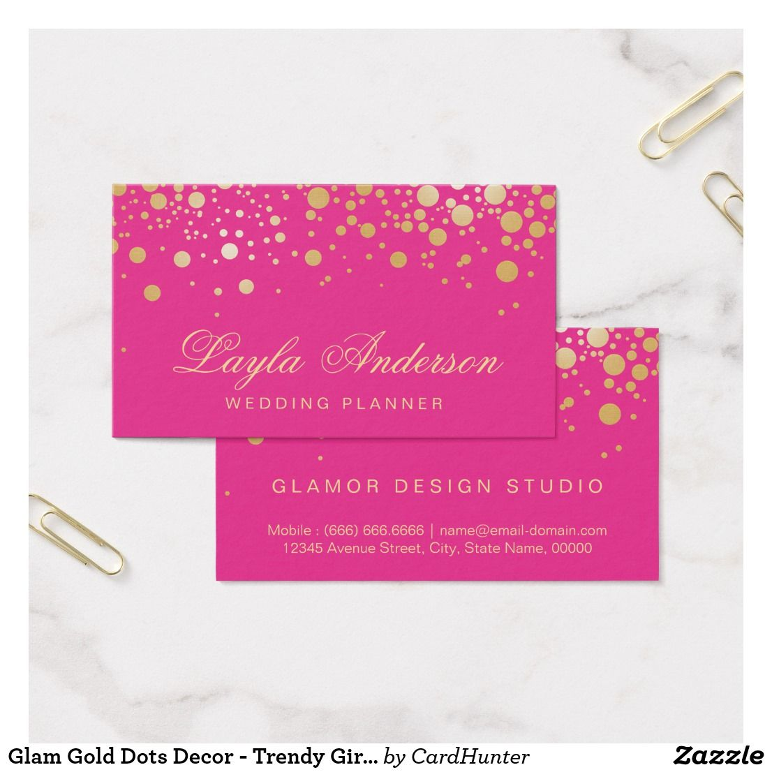 Glam Gold Dots Decor - Trendy Girly Hot Pink Business Card   Salon ideas
