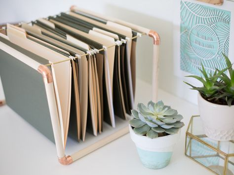 Diy Mixed Metal File Folder Hangers Diy Rangement Bureau Rangement Papier Bureau Rangement Papier Administratif