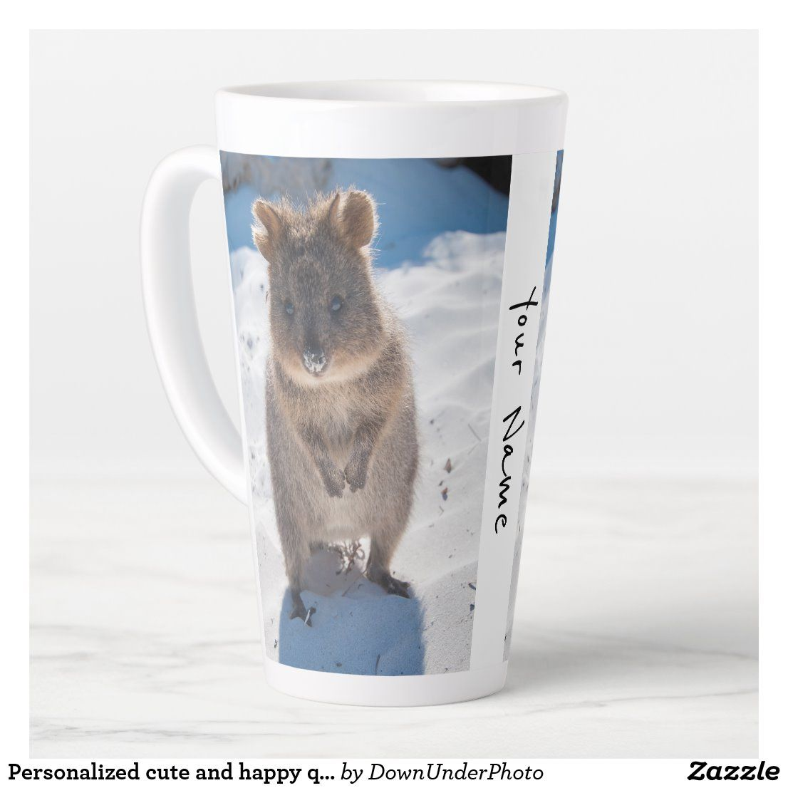 Personalized cute and happy quokka on the beach latte mug