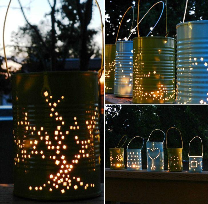 Vamos fazer na festa de fim de ano Má? ;) Tin Can Lanterns http://www.handimania.com/diy/tin-can-lanterns.html