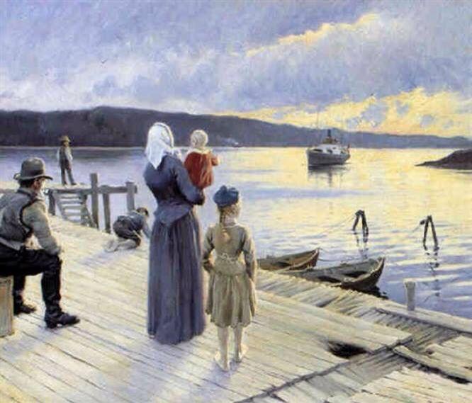 Paul Gustav Fischer. Vertrek vanuit een Noors Fjord