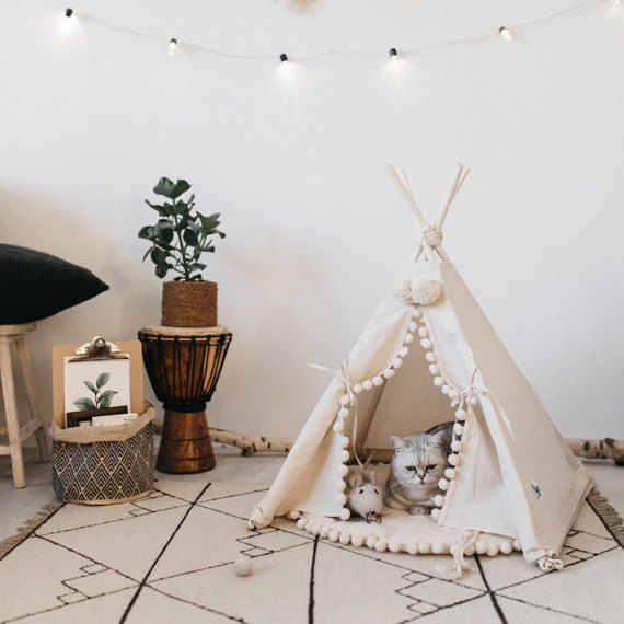 Cat bed with a matching pompom pad dog bed pet teepee pet bed & Cat bed with a matching pompom pad dog bed pet teepee pet bed ...