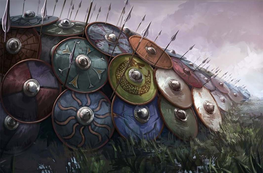 Illustration Of A Viking Shield Wall Unknown Artist