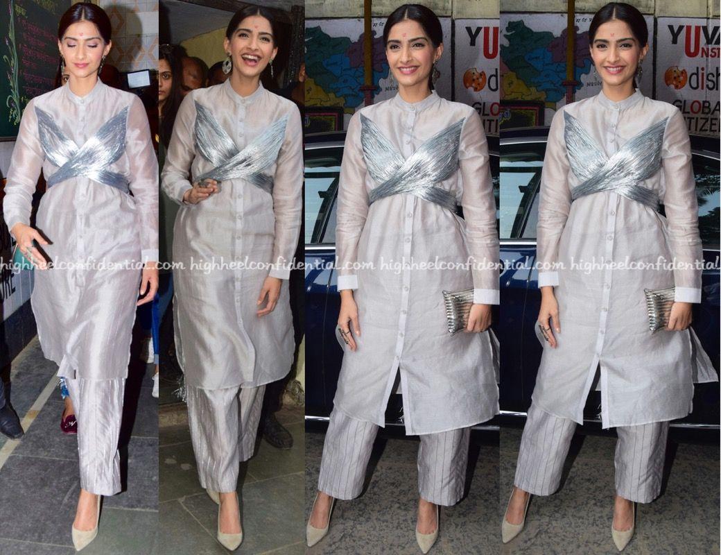 708868f8f8 Sonam in a Rimzim Dadu suit, Amrapali clutch, Jimmy Choo pumps, Celebrity  fashion, Indian Style, celebrity style, Fashion, Indian Celebrity Fashion,  ...