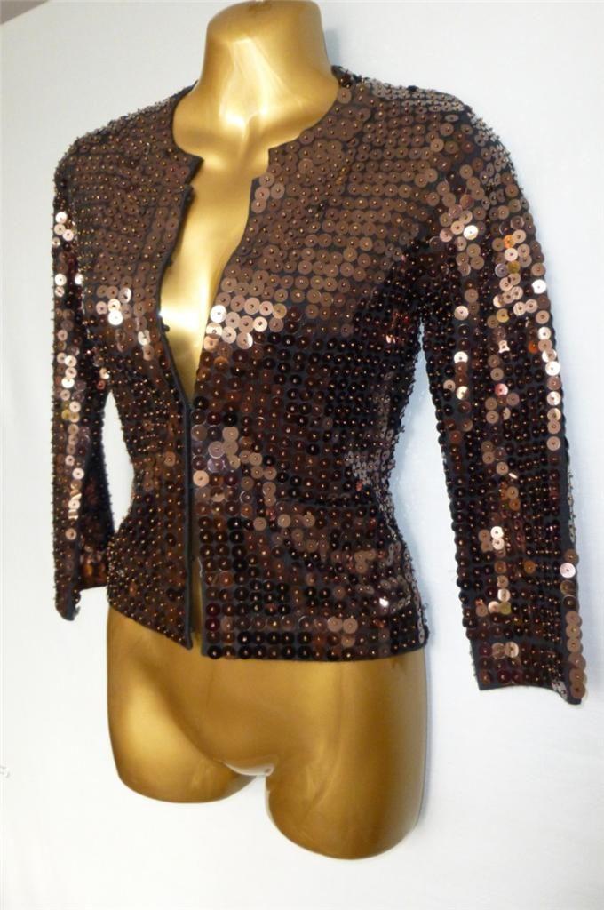 KAREN MILLEN Bronze Sequin Knit Jacket Size 1 UK 6-8 - 2 UK 10 ...