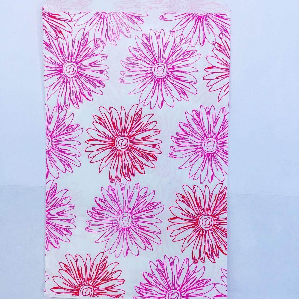100 Pc 4x6 Inch Pink Flower Print Paper Merchandise Bags Flower