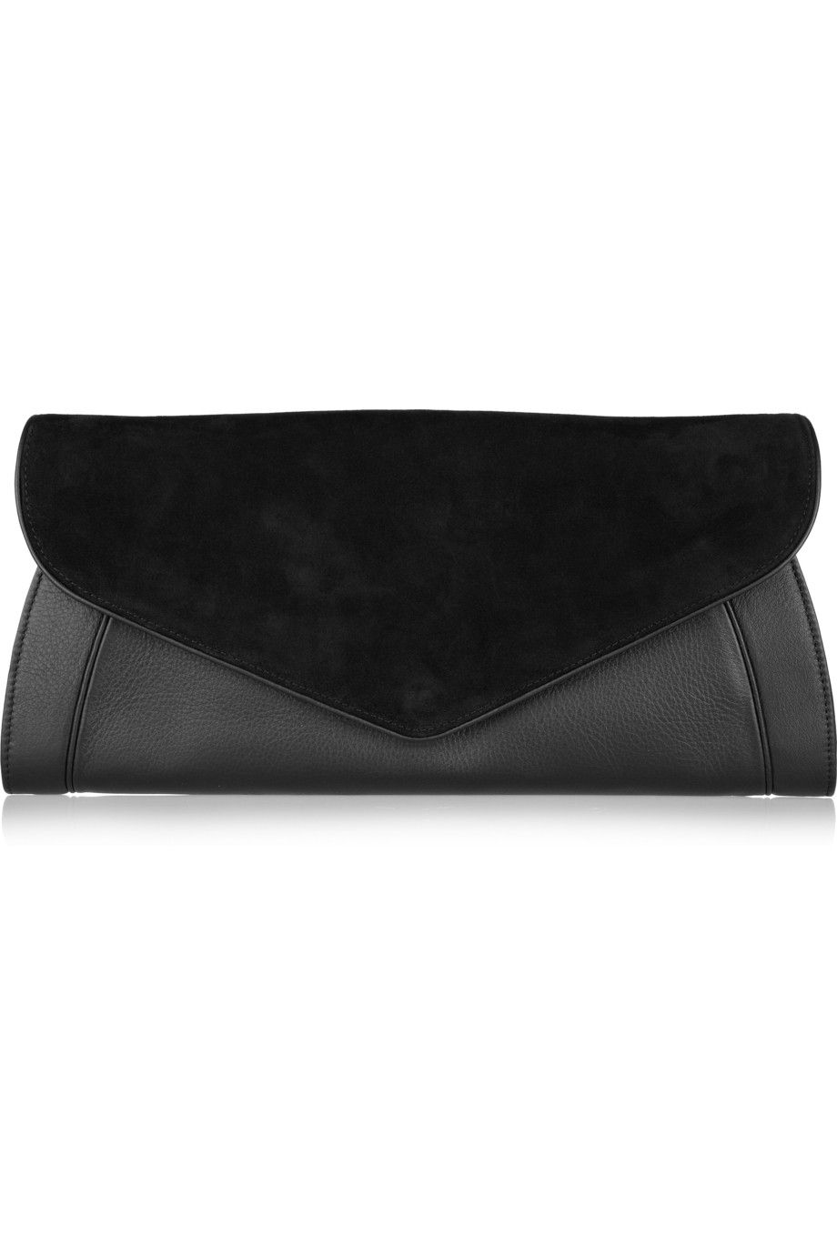 See by Chloé|Anna leather and suede clutch|NET-A-PORTER.COM