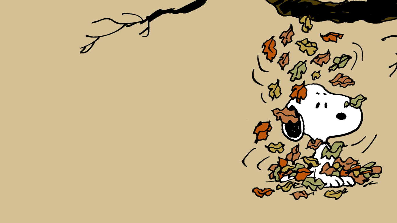 Snoopy In The Fall Wallpaper 1366x768 Snoopy Wallpaper Fall Wallpaper Cute Fall Wallpaper