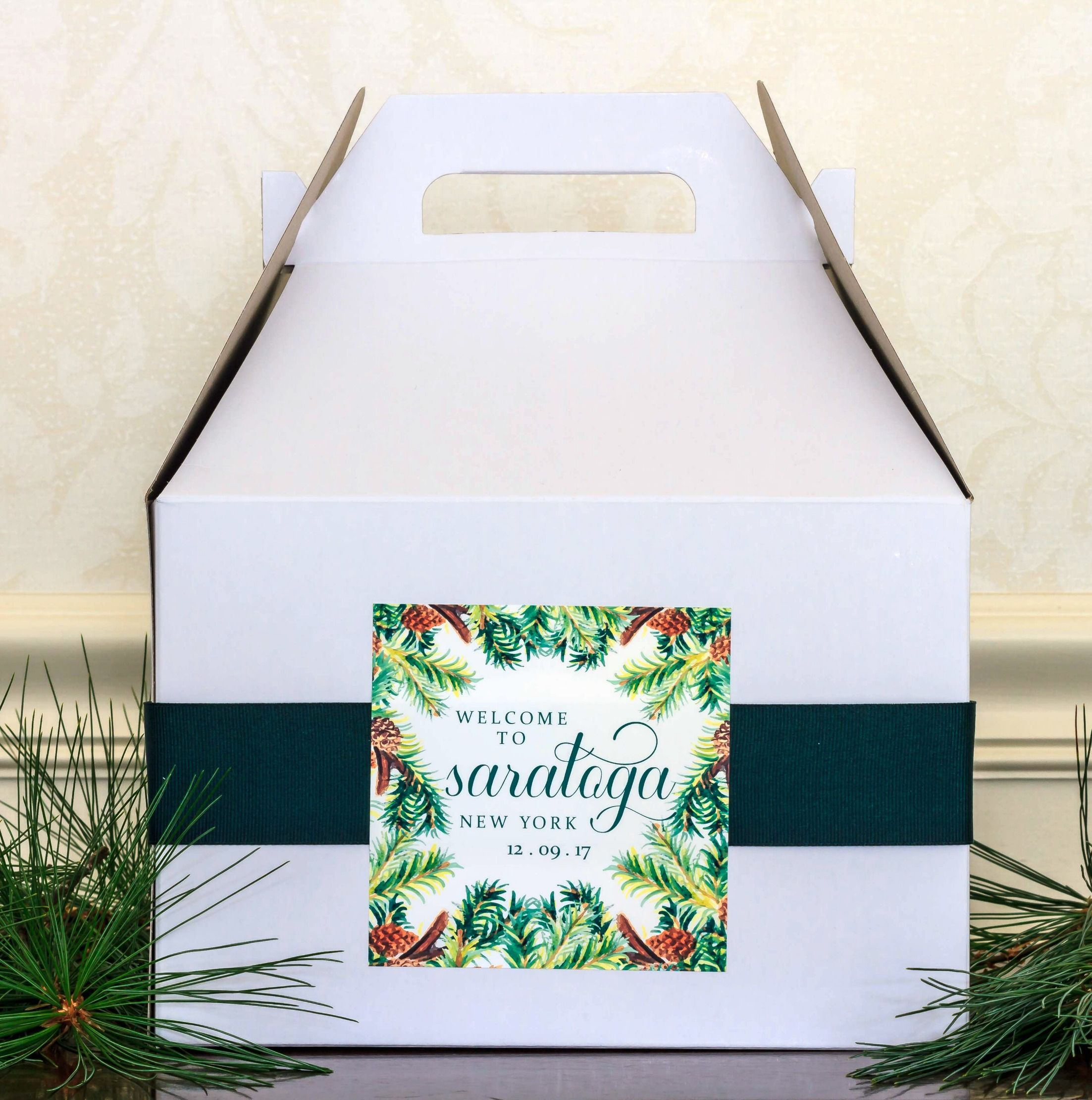 Evergreen Wedding Welcome Gift Bag Stickers. Winter Wedding Gable ...