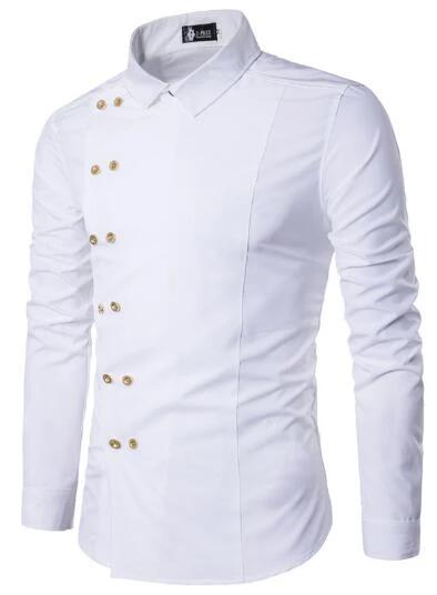 Men/'s Casual Shirts European Double Breasted Long Sleeve Dress Shirts Fashion