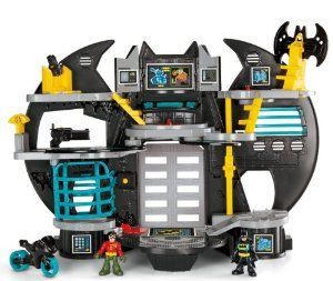 Fisher-Price Imaginext Super Friends #Batcave  $29.99 save:25%     Turning figures on disks, pressing a button to fire projectiles, and moving Batman or Robin up & down the elevator help enhance finger/hand dexterity         Promotes creativity and imagination with role play fun     Comes with Batman, Flight suit, Batwing, Batcycle and two projectiles     Ships in Certified Frustration-Free Packaging     Fun for all boys #toys #boys #Christmas #Super #Friends #baby #toddler