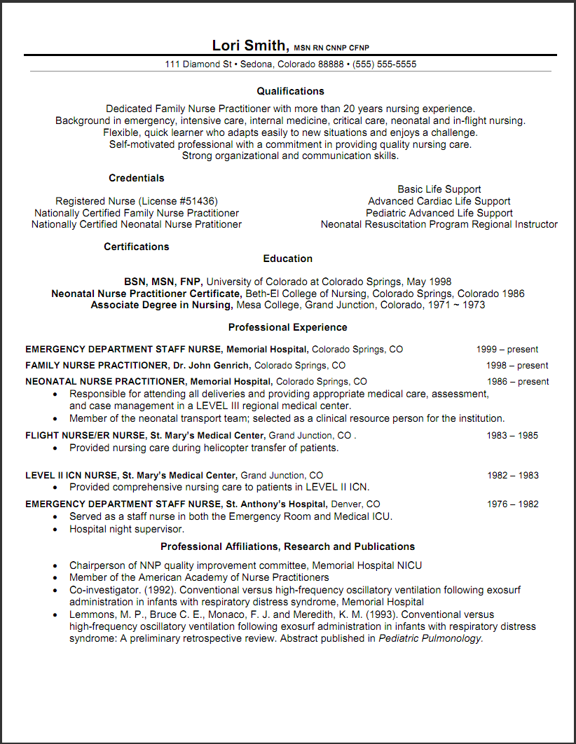 Captivating Sample New Rn Resume | Sample Nurse Practitioner Resume Template