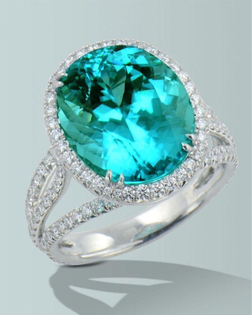Spectacular Paraiba Tourmaline  Engagement Rings Fine Gemstones Gold  Platinum Designer Jewelry