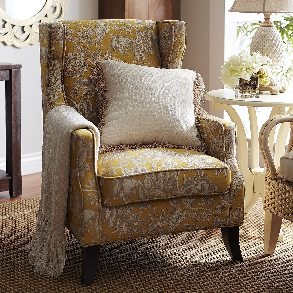 Alec Wing Chair   Gold Floral | Pier 1 Imports