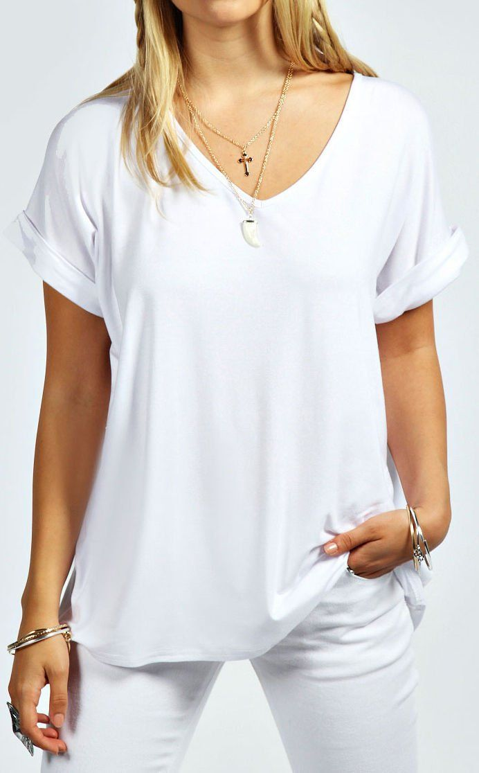 1f658f0de82 Home of Fashion White V Neck Baggy Oversized Roll Sleeve Top (SM (8-10))
