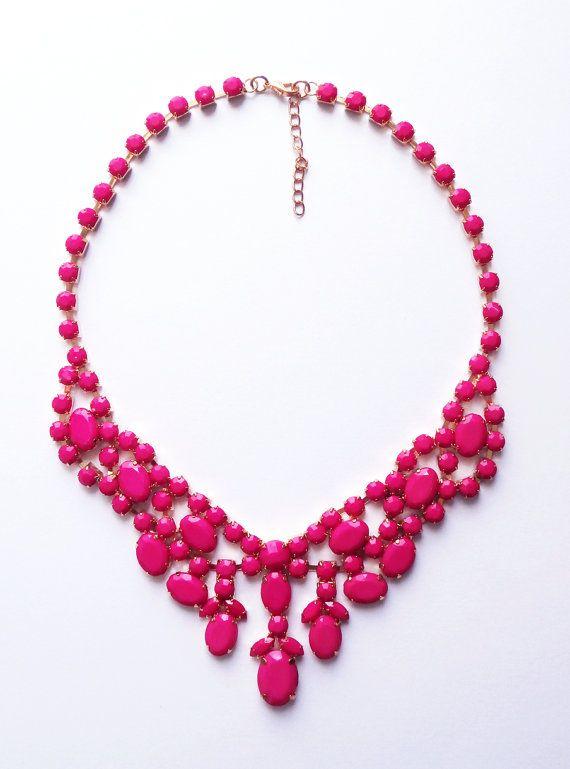Hot pink necklace bib necklace statement necklace by BelleNoirShop, $21.00