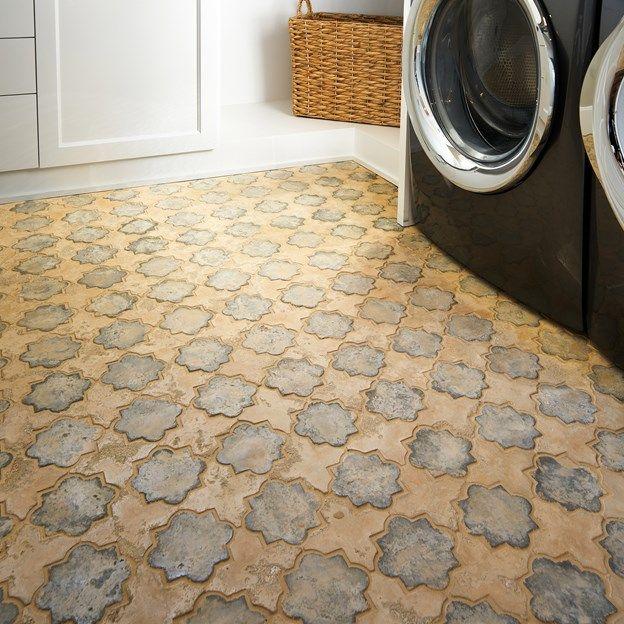 Floor Is Hacienda Concrete Tile Color And Shape Are Arabesque 8c W Grey Mist And Hacienda Limestone Cross A Arabesque Tile Arabesque Tile Floor Holiday Linens
