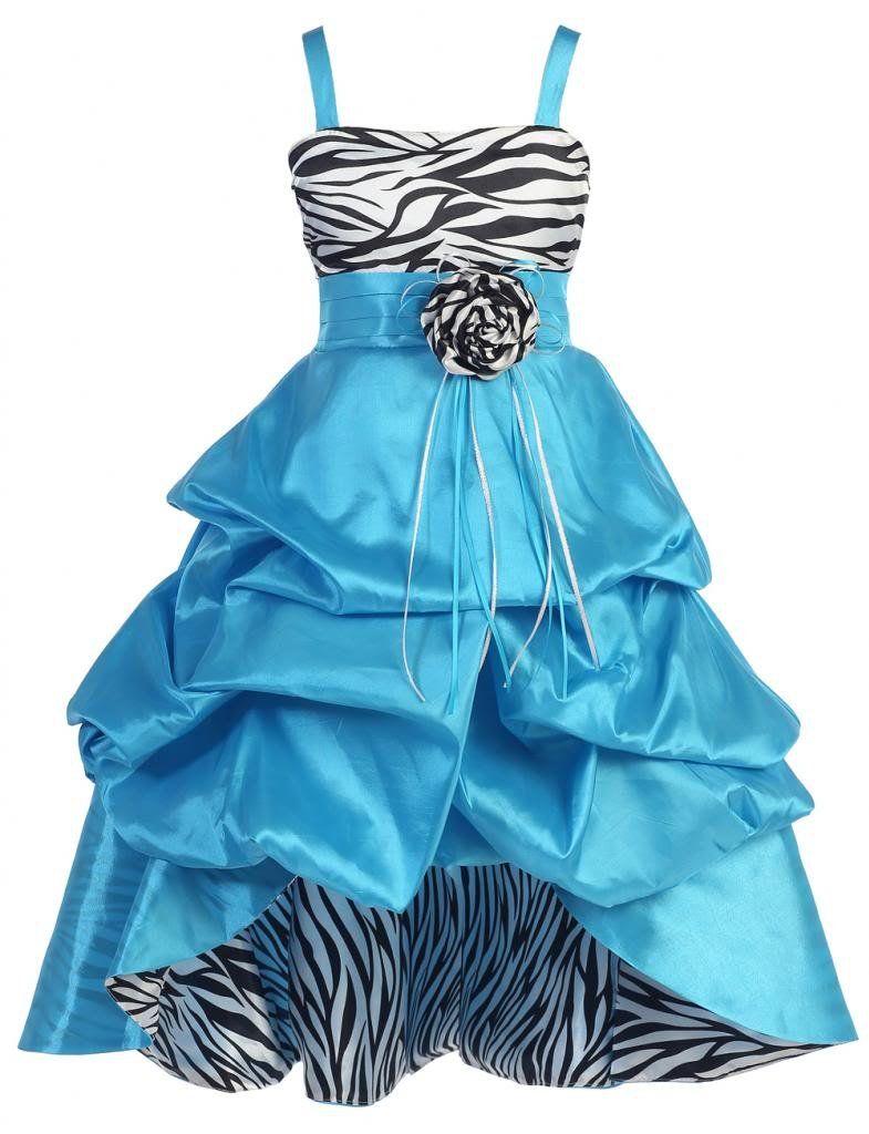 db1fcb92022d8 Amazon.com  Wonder Girl Sasha Big Girls  Taffeta Zebra High Low Dress  Special  Occasion Dresses  Clothing