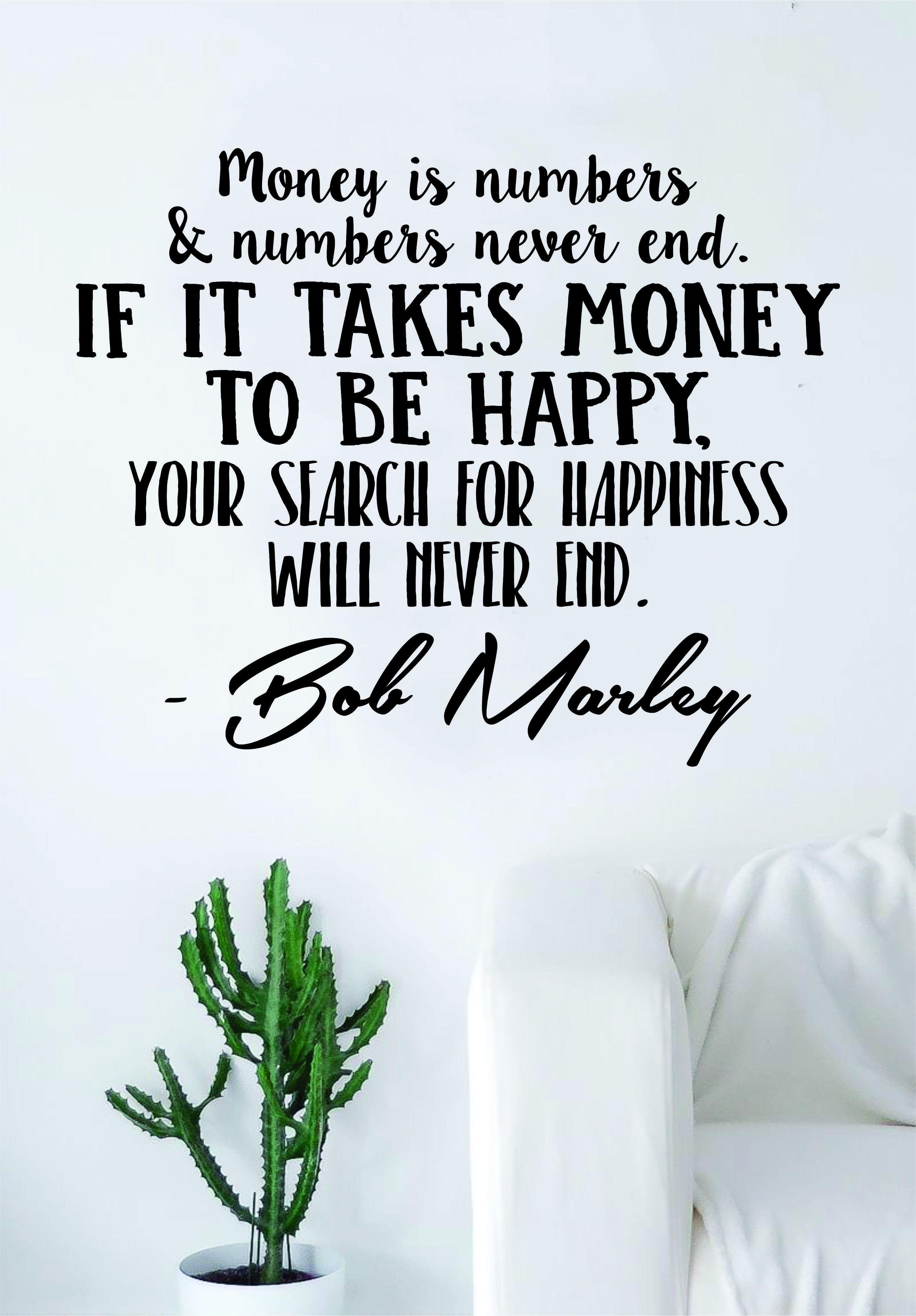 Bob Marley Money is Numbers Decal Quote Sticker Wall Vinyl Art Decor Home Music Lyrics Reggae One Love Inspirational - gold