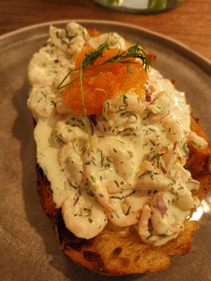 Toast skagen with Kalix lojrom (whitefish roe).