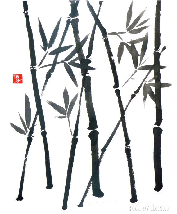 Original Sumi Brush Painting Bamboo Asian Japanese Wall Art