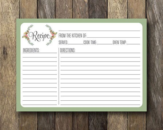 printable 5x7 recipe card instant download floral recipe card