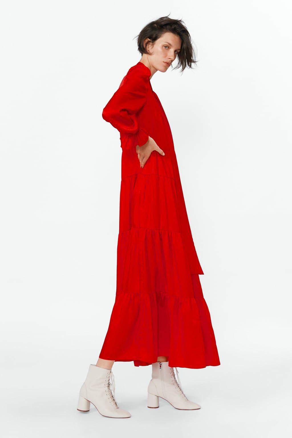 Ruffled Dress Details6 990 Rsdred 2283 693 Ruffle Dress High Collar Dress Dresses