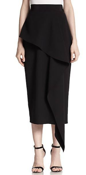 MILLY  Cady Stretch Cascade Midi Skirt