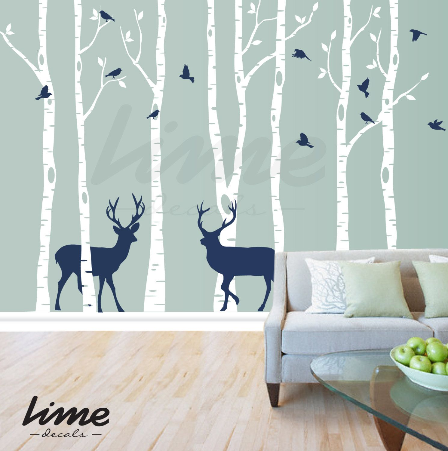 Birch Tree Deer Wall Decal Forest Birch Trees Birch Trees Vinyl