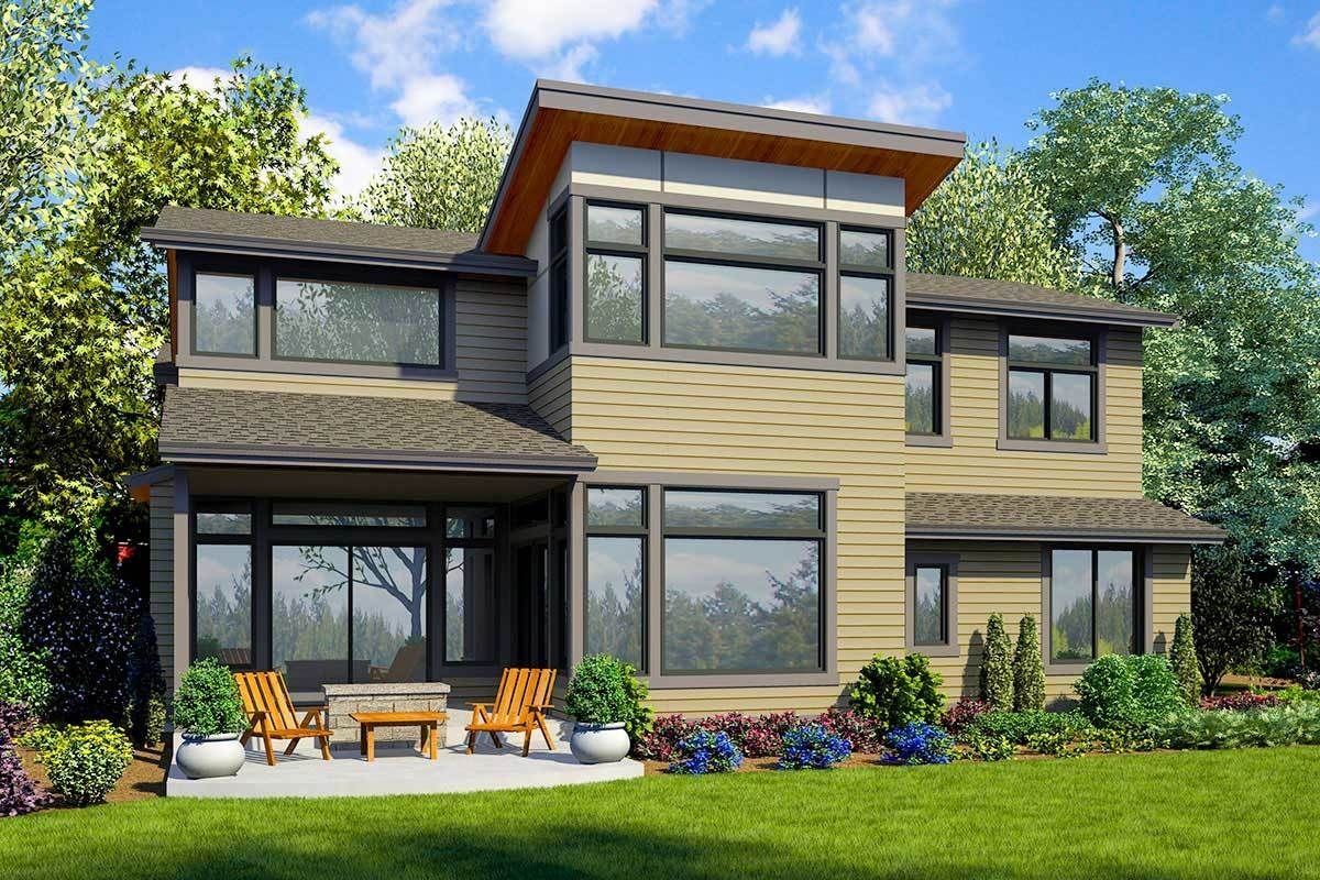 Plan 23776JD Beautiful 5Bed Modern House Plan with 3Car