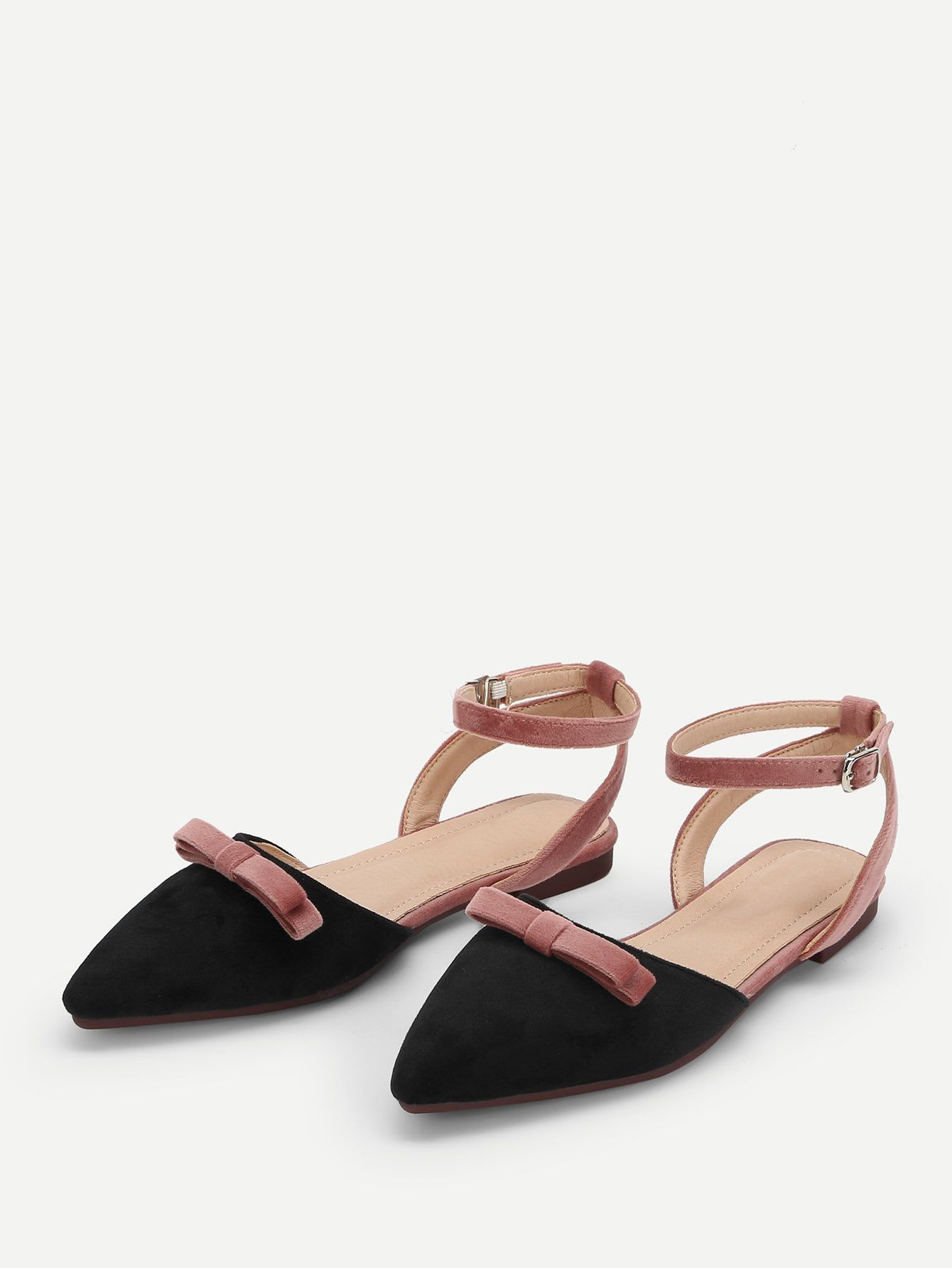 b5f1f4a5cf71 Casual Point Toe Bow Ankle strap Black Knot Detail Pointed Toe Flats ...