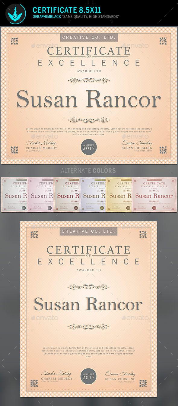 Certificate template certificate template and infographic templates certificate template a classic design easy to use and great for presentations included in this file 2 photoshop files 6 color options tutorials all yadclub Images