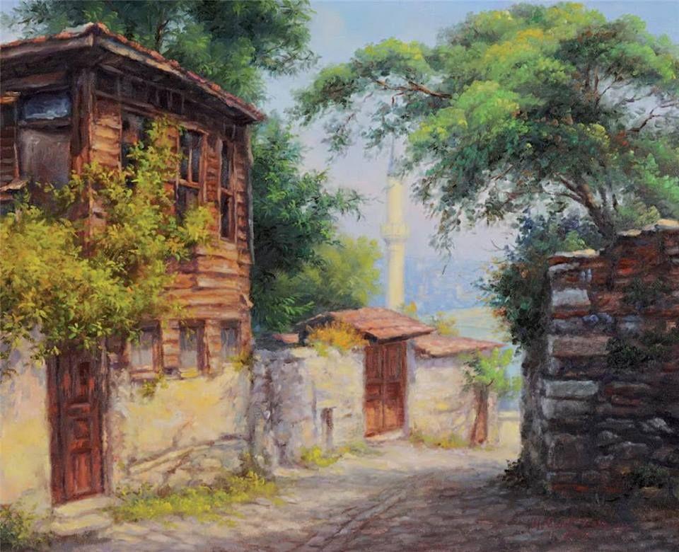 Hüseyin Cahit Derman   Ahşap Ev   Tuval üzerine yağlıboya   49.00 x 60.00 cm. ♥♥♥  #WoodenHouse #TurkishPainter