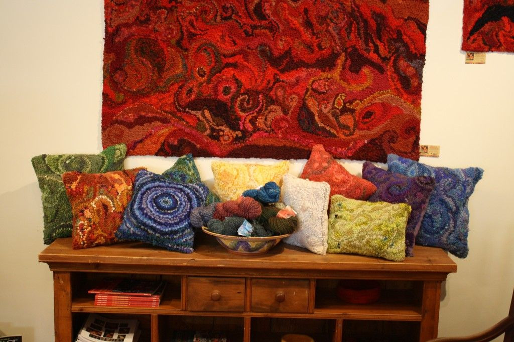 hooked pillows at Deanne's shop