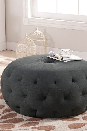 Cute Round Grey Tufted Ottoman | For the Home | Pinterest | Pufs ...