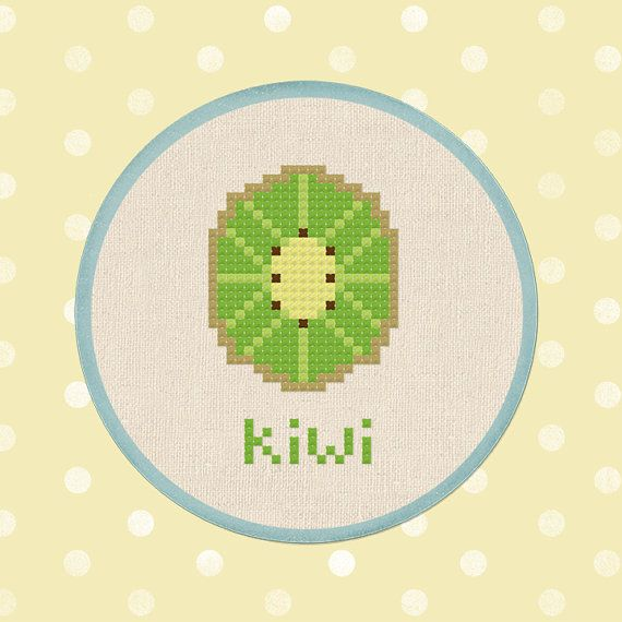 Half Kiwi. Fruit Modern Simple Cute Cross Stitch PDF Pattern ...