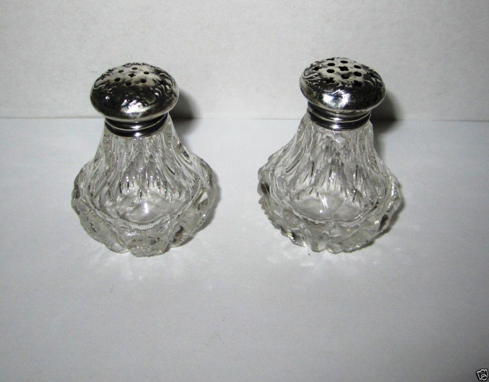 Sterling silver crystal salt pepper shaker set nouveau saw