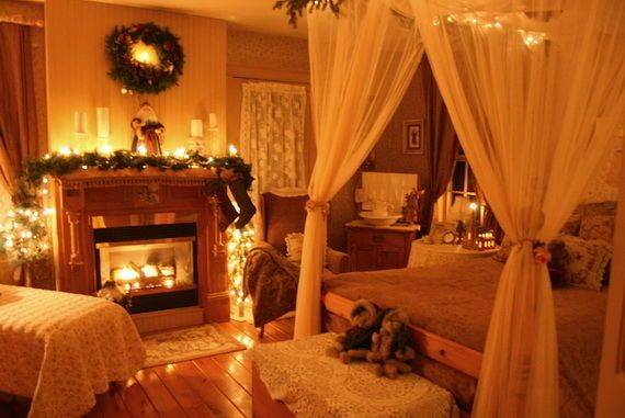 Nighttime Christmas Bedroom Night Lights Bed Bedding Holidays Decorations Decorating