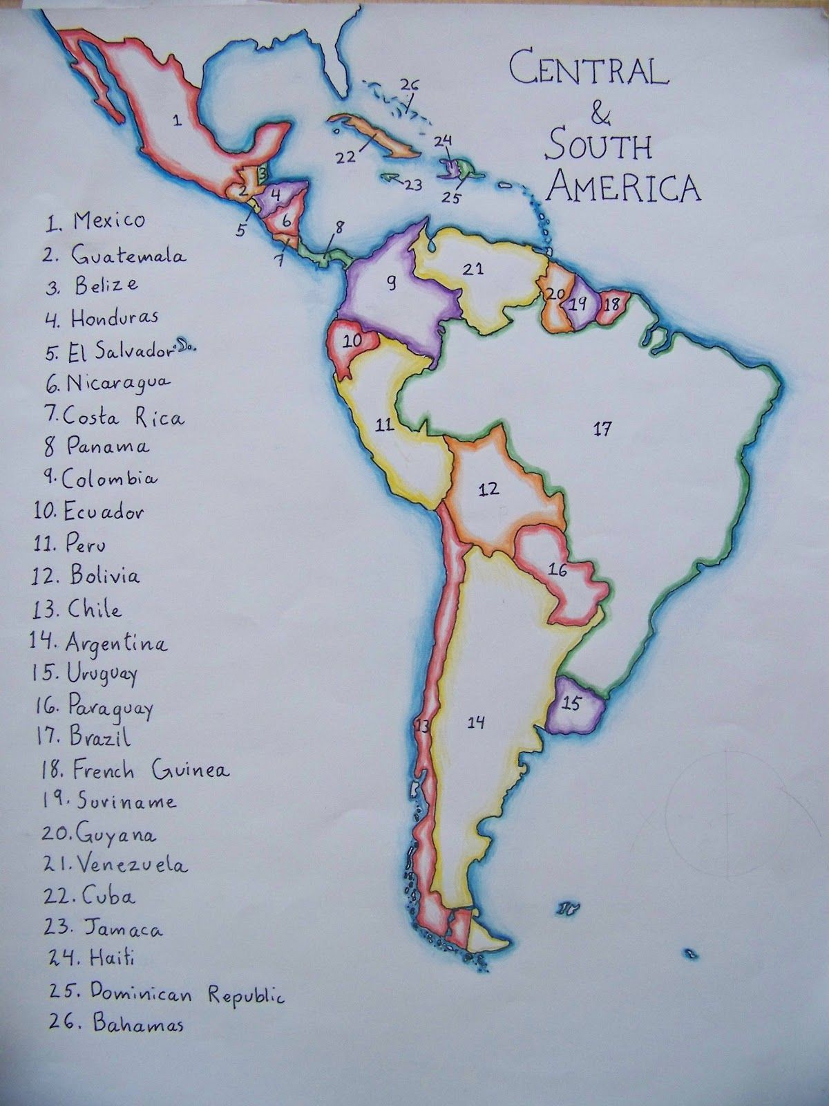 map of south america by a waldorf 6th grader … | South ...