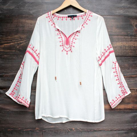 maldives free spirited front tie red embroidered tunic - ivory